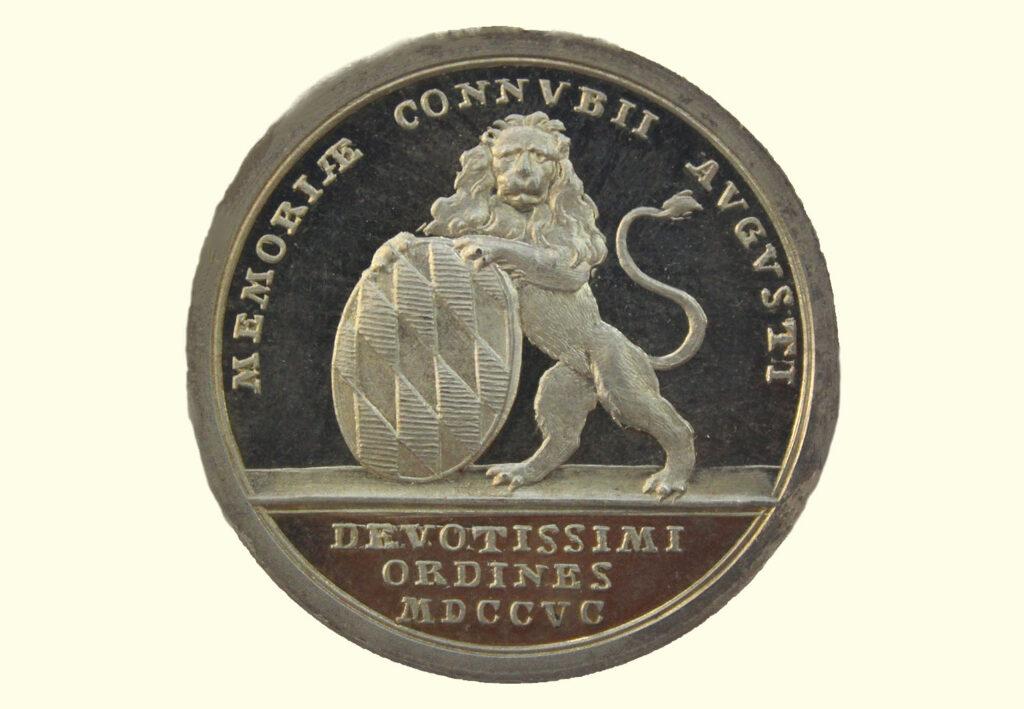 Silbermedaille 1795 - Zur zweiten Vermählung des Kurfürsten Karl Theodor von Bayern mit Maria Leopoldina von Österreich.