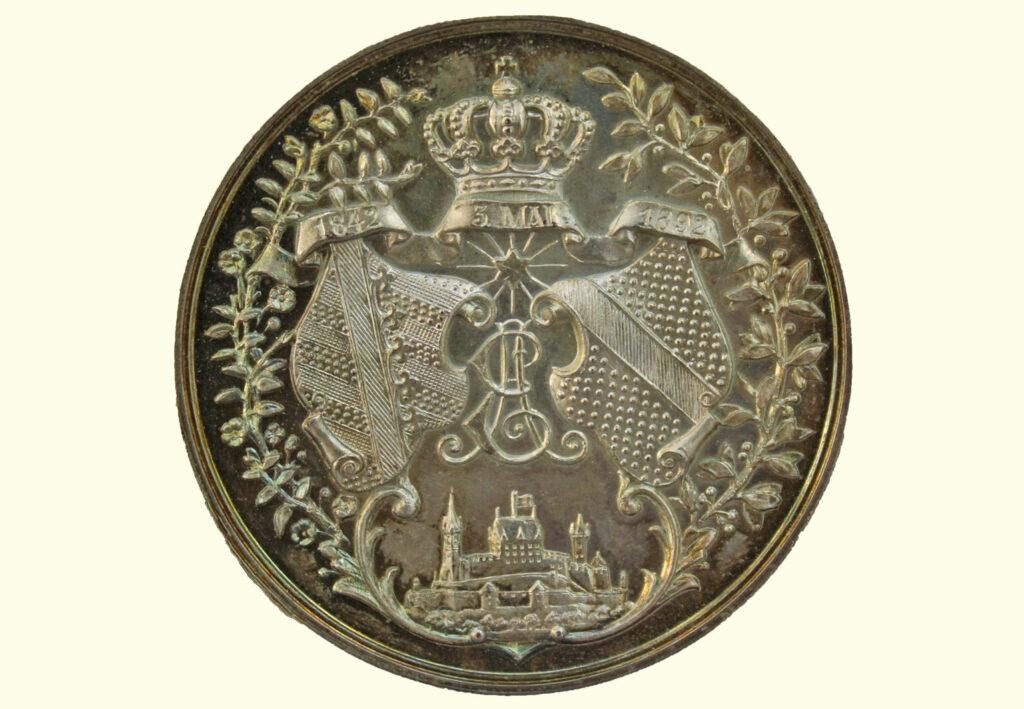 Versilberte Bronzemedaille 1892 - Wappen Coburg Baden (Rückseite)