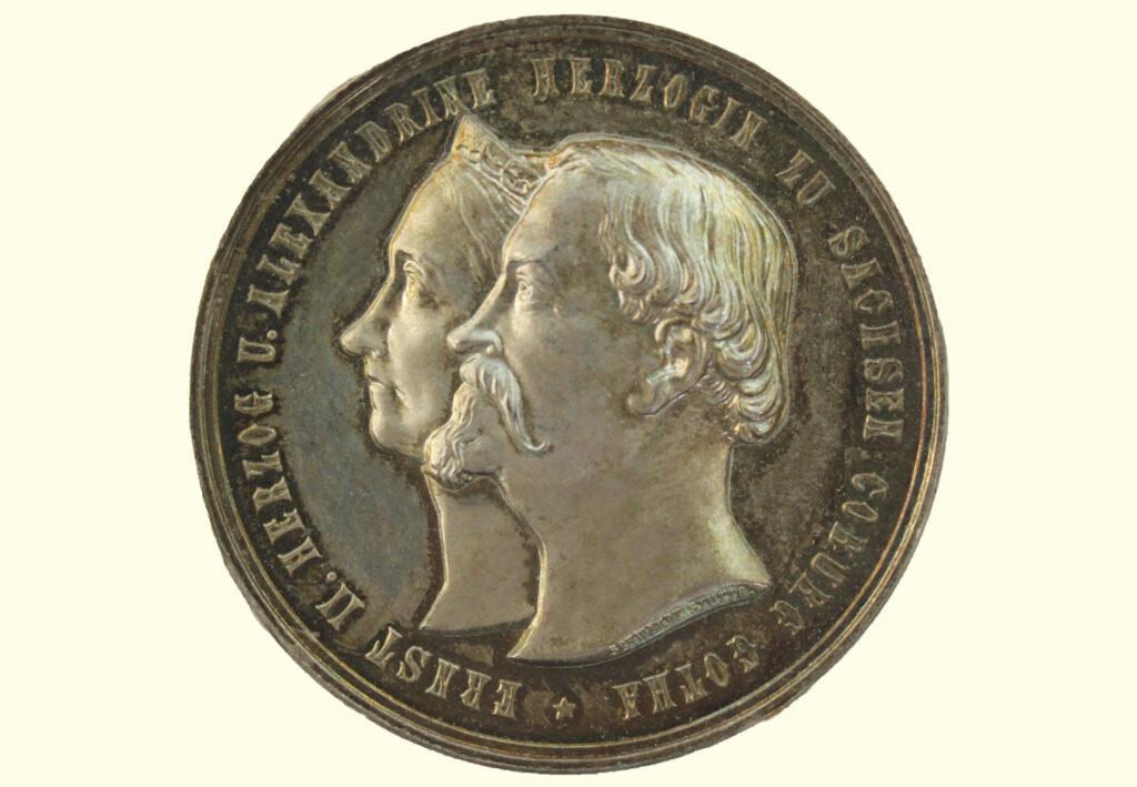 Versilberte Bronzemedaille 1892 - zur goldenen Hochzeit des Herzogpaares